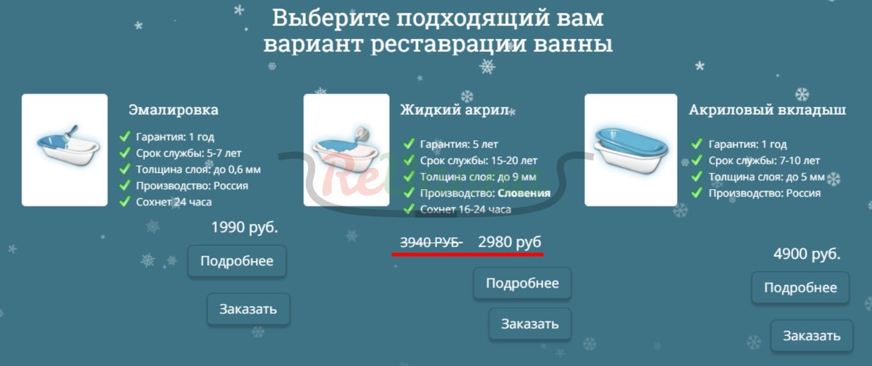 наливная ванна цена