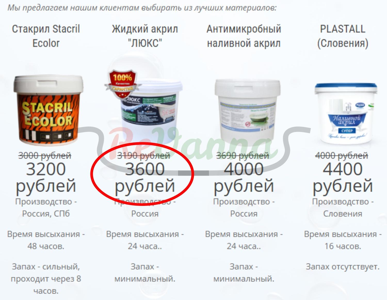 цены на реставрацию ванн ленобласть